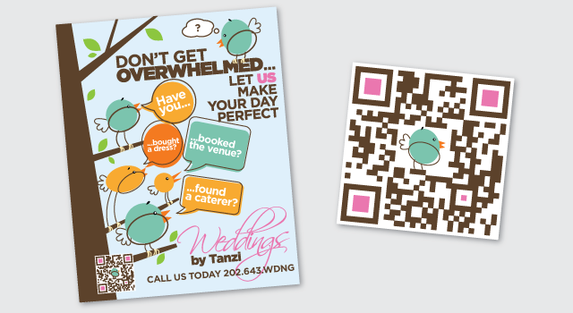 Weddings by Tanzi poster and custom designer QR code
