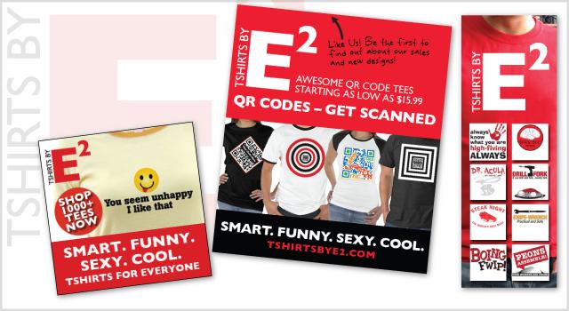 Tshirts By E2 branding – banner ads, Facebook branding
